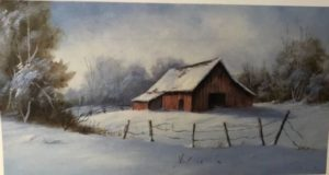 Winter barn in the snow.